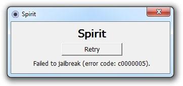Spirit Failed to jailbreak (error code: c0000005)