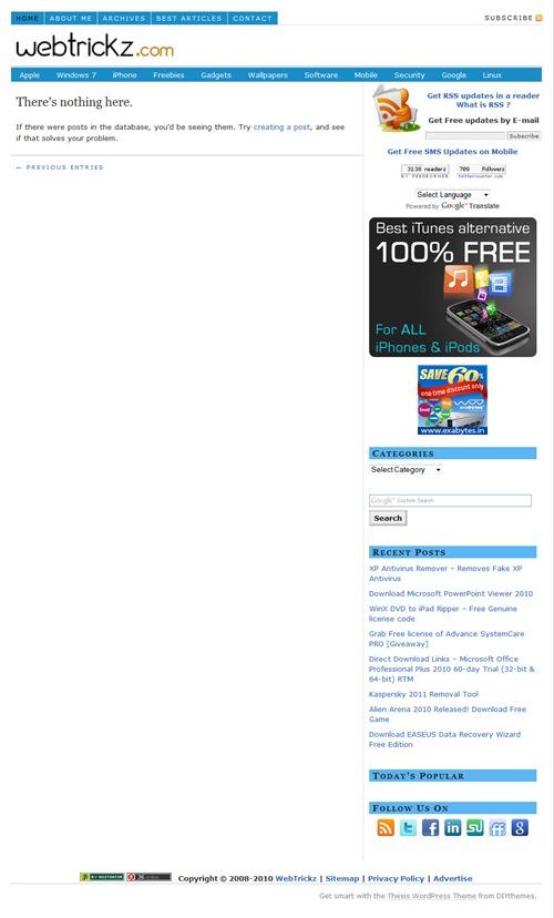 webtrickz homepage - WP blank page issue