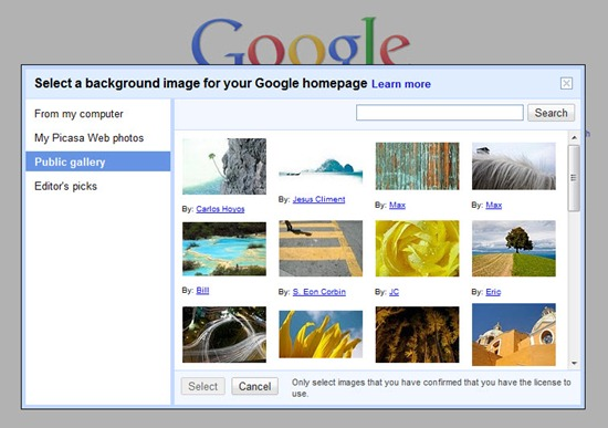 Select a background image for google