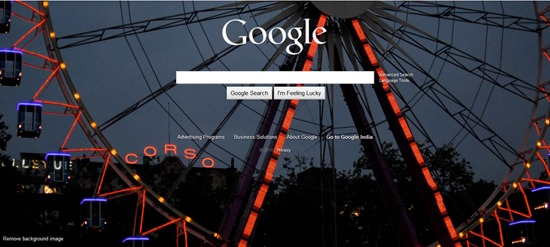 Google homepage with background image