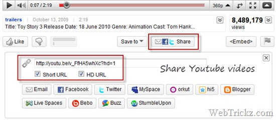 Share YouTube videos in HD format with Short URLs
