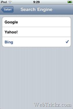 set bing as search engine