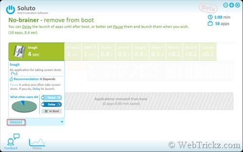 Soluto - brief boot app info
