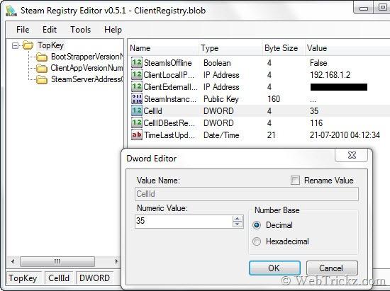 Steam registry editor