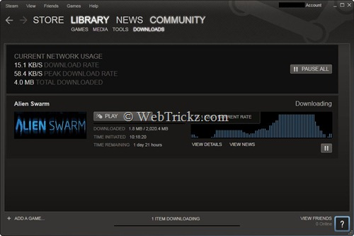 alien swarm downloading via steam