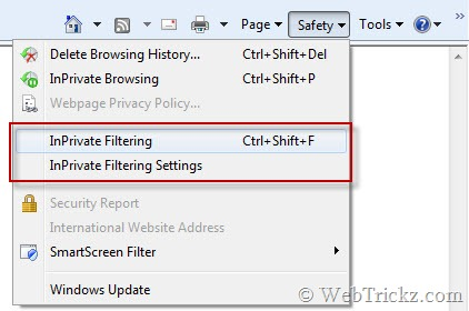 InPrivate Filtering in IE 8