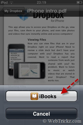 add pdf to ibooks with dropbox