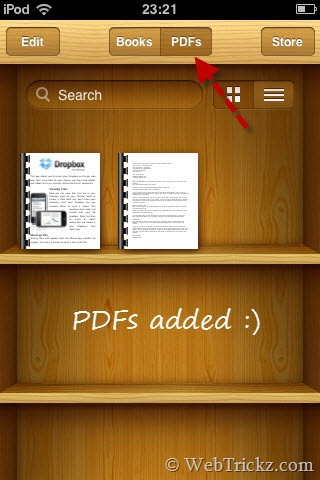 PDFs added to iBooks