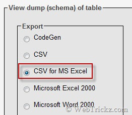 choose export format