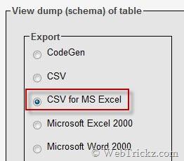 choose export format