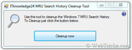 MRU Search History Cleanup Tool