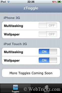 Toggle Multitasking & Background Wallpapers