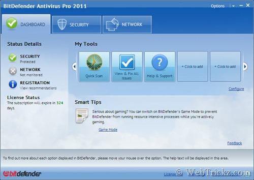 BitDefender Antivirus Pro 2011_dashboard