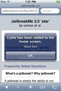 JailbreakMe - idevice jailbreaked