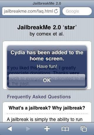 jailbreakme - device jailbreaked