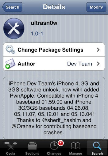 ultrasn0w 1.0-1 to unlock iPhone 4