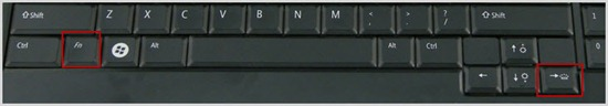 Fn key + Right Arrow key