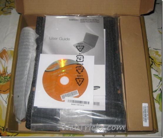Samsung N148 plus box - User guide, Software DVD, accessories