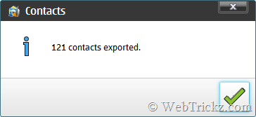 contacts exported