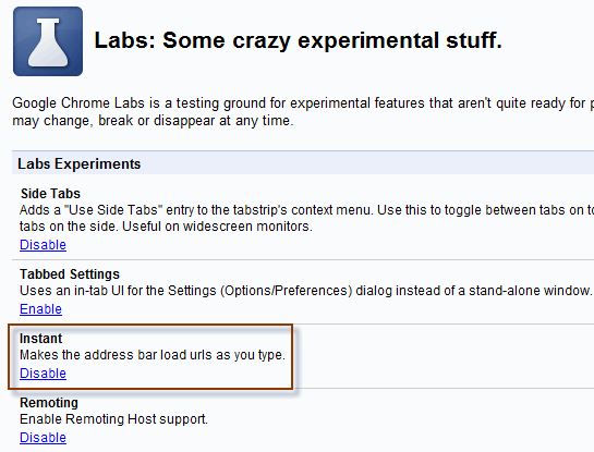 Chrome_about:labs