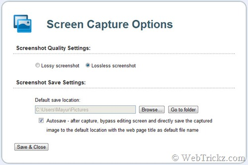 Screen Capture_options