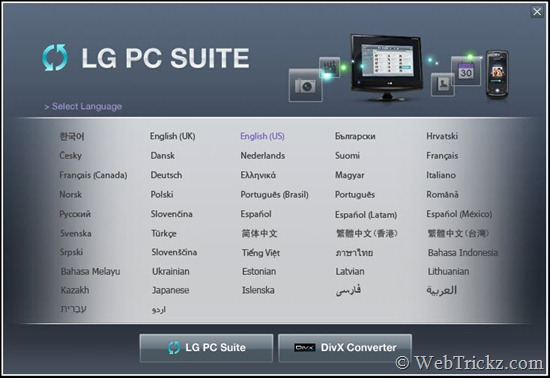 LG PC Suite_languages