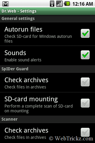 Dr.Web for Android Light_settings