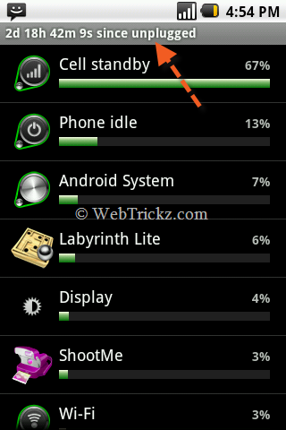 battery usage & uptime