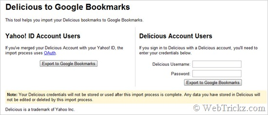 Import Delicious to Google Bookmarks