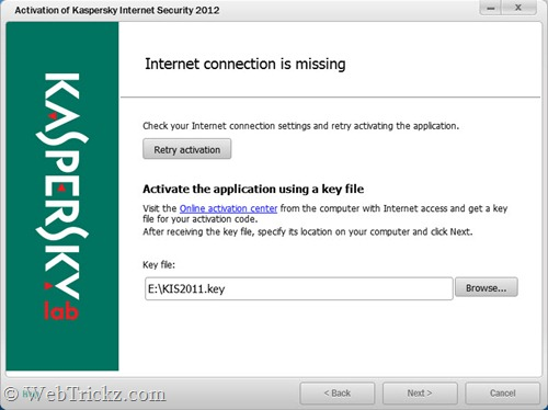 KIS 2012_activate using key file
