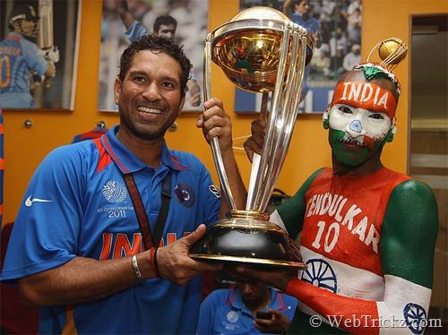 Sachin with long time fan Sudhir Gautam