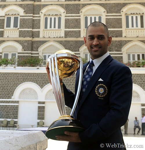 Dhoni shaves head after winning world cup