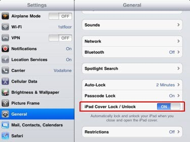 Ipad Cover Lock Unlock Option Missing In Ipad 2 Settings