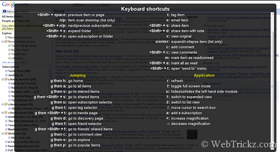 Google Reader Keyboard shortcuts