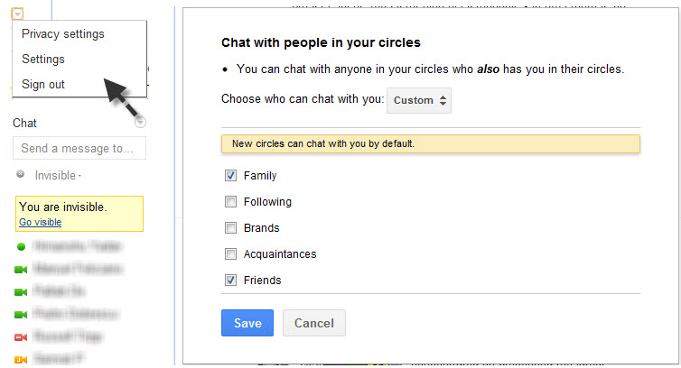 Google+ chat settings