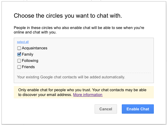 google+ chat options