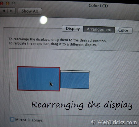 rearranging the display on mac
