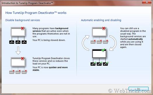 TuneUp Program Deactivator_working