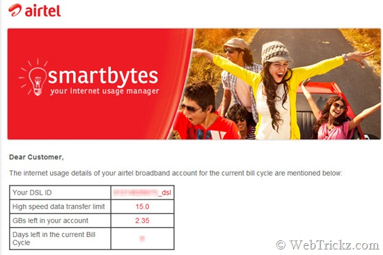 smartbytes_check airtel internet usage