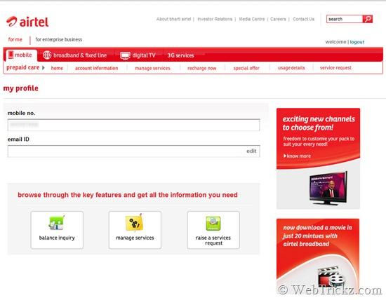 airtel prepaid self-care