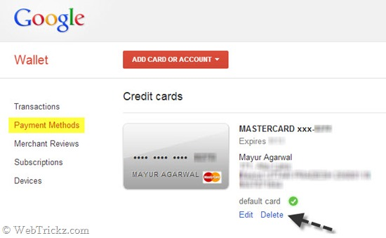 How to Remove/Delete your Credit Card from Google Play