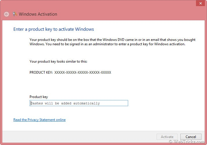 How to change windows 8 product key to activate later 27 10 2012 22 30 34 windows activation ccuart Choice Image