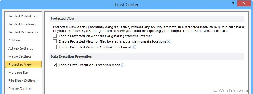 cannot disable protected view excel 2016