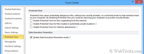 Disable Protected View in ms office