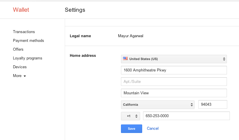 google wallet-address