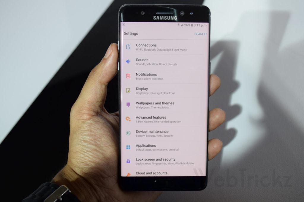 Galaxy Note 7 settings menu