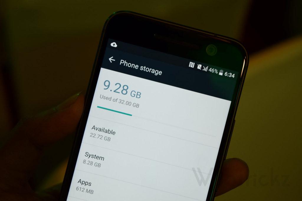 HTC 10 free storage space