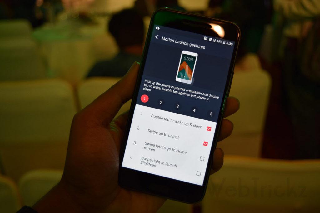 HTC 10 Motion launch gestures