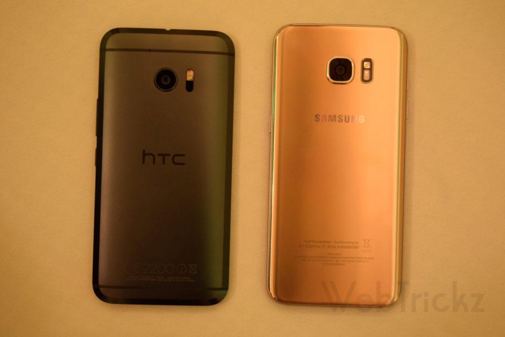HTC 10 vs Samsung Galaxy S7 edge_back view