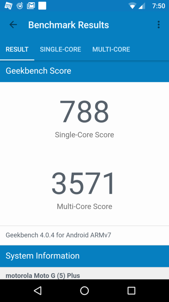 Moto G5 Plus Geekbench score